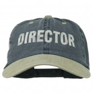Movie Director Embroidered Washed Two Tone Cap - Navy Khaki
