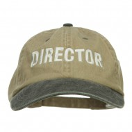 Movie Director Embroidered Washed Two Tone Cap - Khaki Black