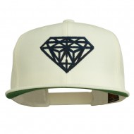 Big Diamond Outline Embroidered Flat Bill White Cap - Navy