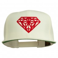 Big Diamond Outline Embroidered Flat Bill White Cap - Red