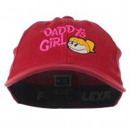 Daddy's Girl Embroidered Youth Flexfit Garment Washed Cap - Red