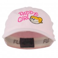 Daddy's Girl Embroidered Youth Flexfit Garment Washed Cap - Pink