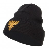 Double Headed Eagle Embroidered Long Beanie - Black