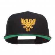 Double Headed Eagle Embroidered Snapback Cap - Black
