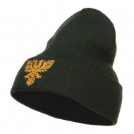Double Headed Eagle Embroidered Long Beanie - Olive