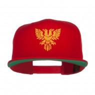Double Headed Eagle Embroidered Snapback Cap - Red
