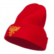Double Headed Eagle Embroidered Long Beanie - Red