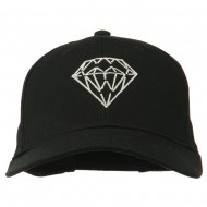 New Diamond Outline Embroidered Cotton Cap - Black