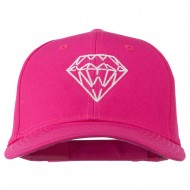 New Diamond Outline Embroidered Cotton Cap - Hot Pink