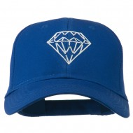 New Diamond Outline Embroidered Cotton Cap - Royal