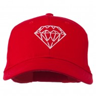 New Diamond Outline Embroidered Cotton Cap - Red