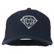 New Diamond Outline Embroidered Cotton Cap - Navy