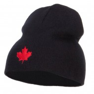 Canada Maple Leaf Embroidered Short Beanie - Black