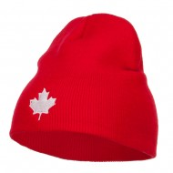 Canada Maple Leaf Embroidered Short Beanie - Red