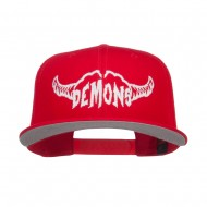 Demons Embroidered Cotton Snapback - Red
