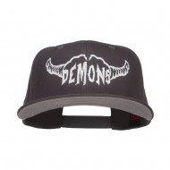 Demons Embroidered Cotton Snapback - Charcoal