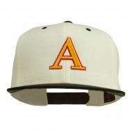 3D Puff Letter A Embroidered Snapback Cap - Natural Black