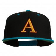 3D Puff Letter A Embroidered Snapback Cap - Black Teal