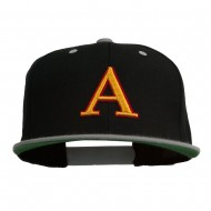 3D Puff Letter A Embroidered Snapback Cap - Black Silver