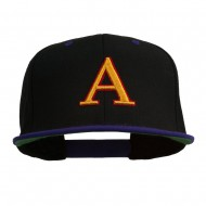 3D Puff Letter A Embroidered Snapback Cap - Black Purple