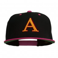 3D Puff Letter A Embroidered Snapback Cap - Black Pink