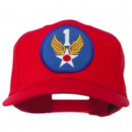1st Air Force Division Patched Cotton Twill Cap - Red