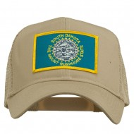 South Dakota Flag Patched Mesh Cap - Khaki