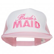 Bridesmaid Embroidered Foam Trucker Cap - White Pink