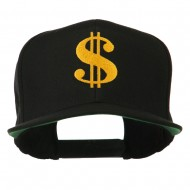 Dollar Sign Logo Embroidered Flat Bill Cap - Black