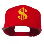 Dollar Sign Logo Embroidered Flat Bill Cap - Red