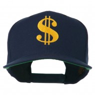 Dollar Sign Logo Embroidered Flat Bill Cap - Navy