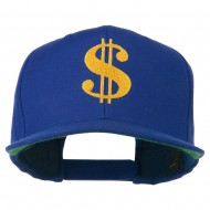 Dollar Sign Logo Embroidered Flat Bill Cap - Royal