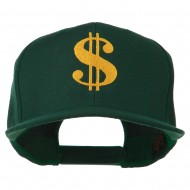 Dollar Sign Logo Embroidered Flat Bill Cap - Spruce