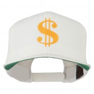 Dollar Sign Logo Embroidered Flat Bill Cap - Natural