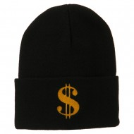 Dollar Sign Embroidered Long Knitted Beanie - Black