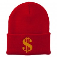 Dollar Sign Embroidered Long Knitted Beanie - Red