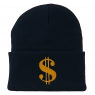 Dollar Sign Embroidered Long Knitted Beanie - Navy