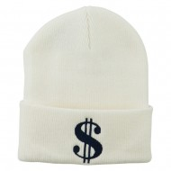 Dollar Sign Embroidered Long Knitted Beanie - White