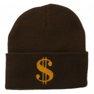 Dollar Sign Embroidered Long Knitted Beanie - Brown
