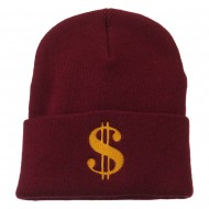Dollar Sign Embroidered Long Knitted Beanie - Burgundy