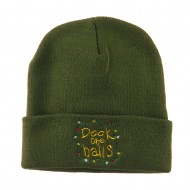 Deck the Halls with Lights Embroidered Beanie - Olive