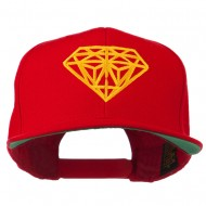 Diamond Outline Embroidered Snapback Flat Bill Cap - Red