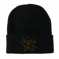 Deck the Halls with Lights Embroidered Beanie - Black