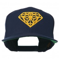 Diamond Outline Embroidered Snapback Flat Bill Cap - Navy