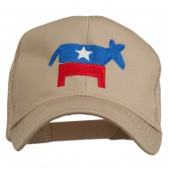 The Democratic Donkey Embroidered Mesh Cap - Khaki