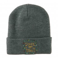 Deck the Halls with Lights Embroidered Beanie - Grey