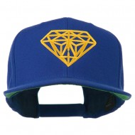 Diamond Outline Embroidered Snapback Flat Bill Cap - Royal