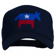 The Democratic Donkey Embroidered Mesh Cap - Navy