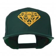 Diamond Outline Embroidered Snapback Flat Bill Cap - Spruce