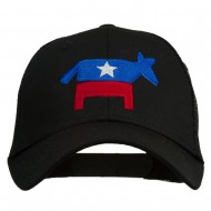 The Democratic Donkey Embroidered Mesh Cap - Black